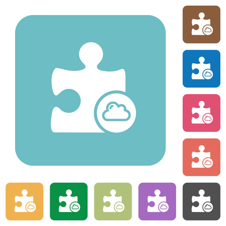 rectangle button: Cloud plugin white flat icons on color rounded square backgrounds Illustration