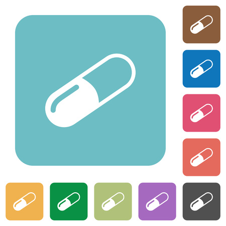 rounded rectangle: Pill white flat icons on color rounded square backgrounds Illustration