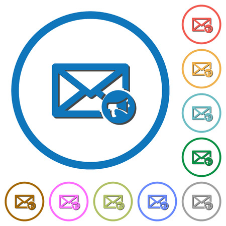 aloud: Mail reading aloud flat color vector icons with shadows in round outlines on white background