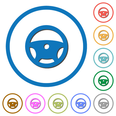Steering wheel flat color vector icons with shadows in round outlines on white background