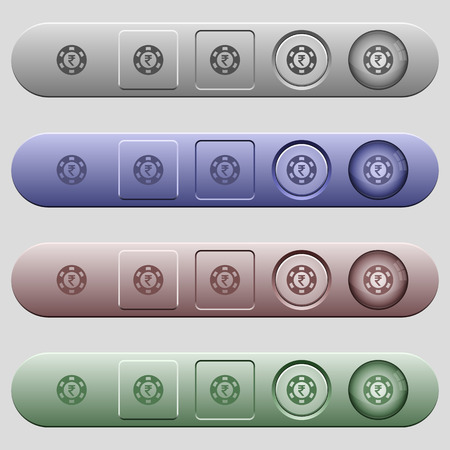 Indian Rupee casino chip icons on rounded horizontal menu bars in different colors and button styles 向量圖像