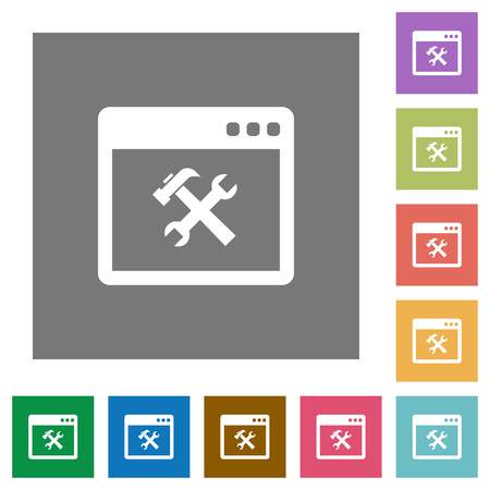 rectangle button: Application tools flat icons on simple color square backgrounds Illustration