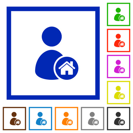 permissions: User home flat color icons in square frames on white background Illustration