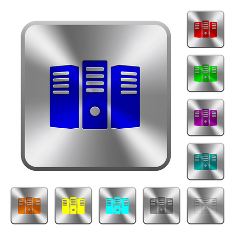 Server hosting engraved icons on rounded square glossy steel buttons Illustration