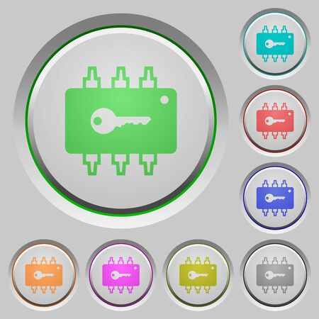 Hardware security color icons on sunk push buttons Illustration