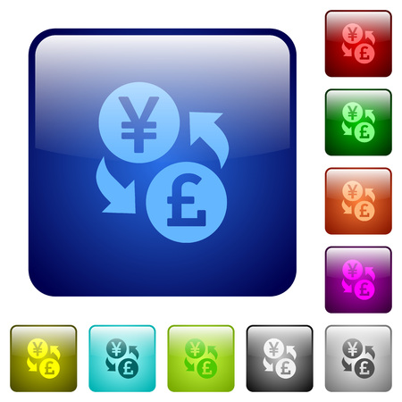 rounded rectangle: Yen Pound money exchange icons in rounded square color glossy button set
