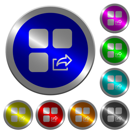 intercommunication: Export component icons on round luminous coin-like color steel buttons Illustration