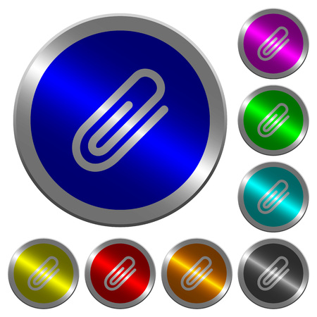 Attachment icons on round luminous coin-like color steel buttons
