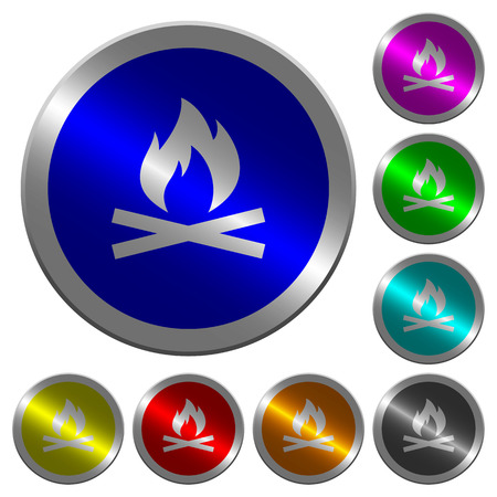 Camp fire icons on round luminous coin-like color steel buttons