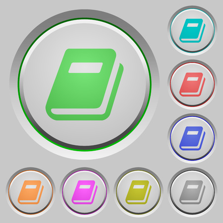 Personal diary color icons on sunk push buttons Illustration