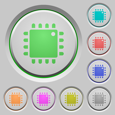 microprocessor: Computer processor color icons on sunk push buttons