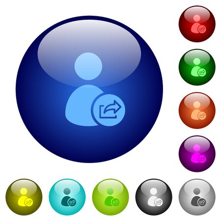User account export data icons on round color glass buttons Illustration
