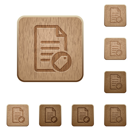 Tagging document on rounded square carved wooden button styles Illustration