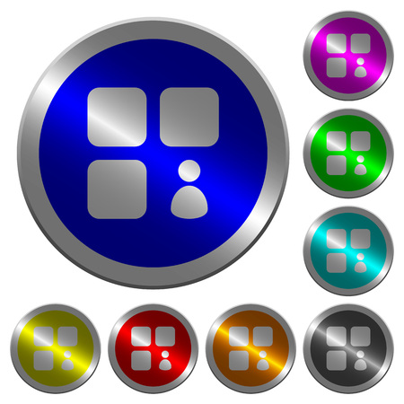 Component owner icons on round luminous coin-like color steel buttons
