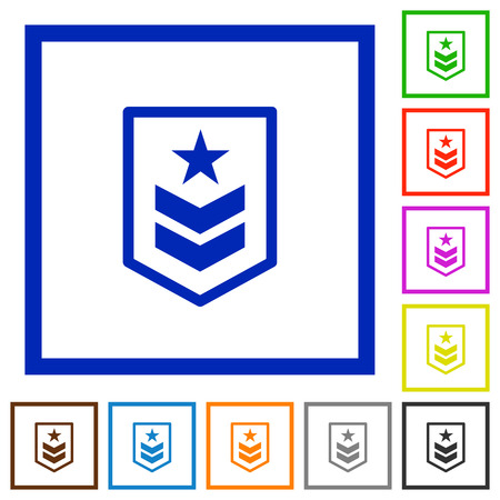 rectangle button: Military rank flat color icons in square frames on white background