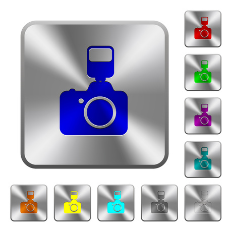 Camera with flash engraved icons on rounded square glossy steel buttons