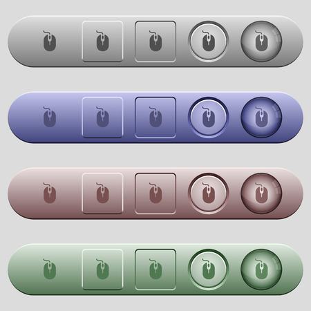 infra red: Computer mouse icons on rounded horizontal menu bars in different colors and button styles