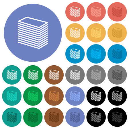 polychrome: Paper stack multi colored flat icons on round backgrounds. Included white, light and dark icon variations for hover and active status effects, and bonus shades on black backgounds. Illustration