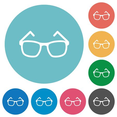 opthalmology: Eyeglasses flat white icons on round color backgrounds
