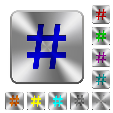shiny buttons: Hash tag engraved icons on rounded square glossy steel buttons