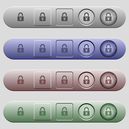 Locked Yens icons on rounded horizontal menu bars in different colors and button styles