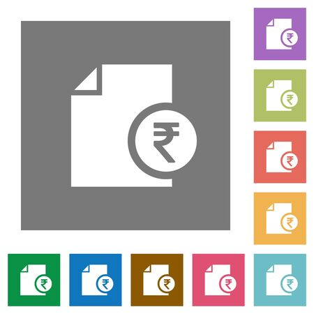 rectangle button: Indian Rupee financial report flat icons on simple color square backgrounds