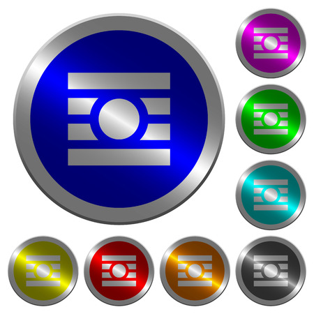 Text wrap around objects icons on round luminous coin-like color steel buttons Ilustração