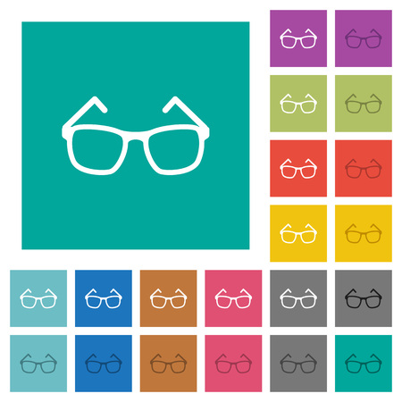 opthalmology: Eyeglasses multi colored flat icons on plain square backgrounds. Included white and darker icon variations for hover or active effects.
