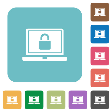 Locked laptop white flat icons on color rounded square backgrounds