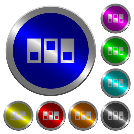 Switchboard icons on round luminous coin-like color steel buttons