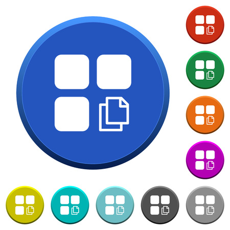 Copy component round color beveled buttons with smooth surfaces and flat white icons