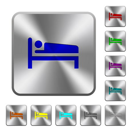Sleeping man engraved icons on rounded square glossy steel buttons