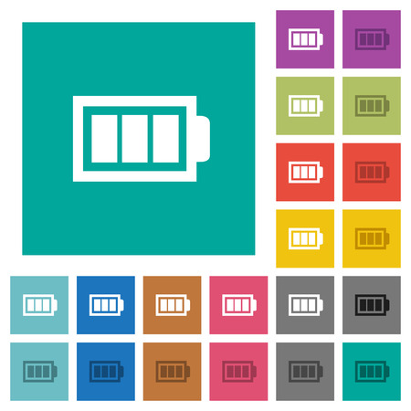 Full battery with three load units multi colored flat icons on plain square backgrounds. Included white and darker icon variations for hover or active effects. Illustration