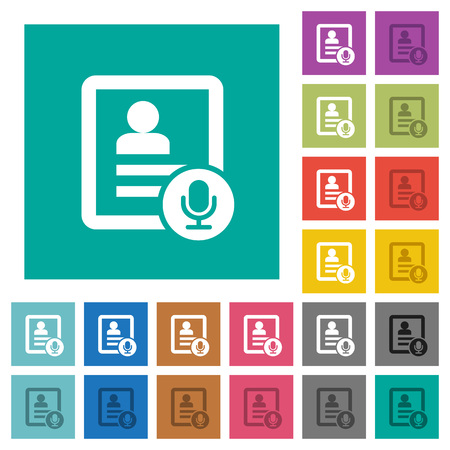 phonebook: Contact voice calling recording multi colored flat icons on plain square backgrounds. Included white and darker icon variations for hover or active effects.