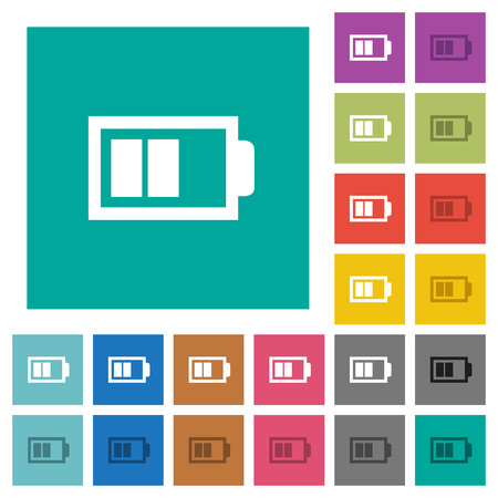 Half battery with two load units multi colored flat icons on plain square backgrounds. Included white and darker icon variations for hover or active effects.