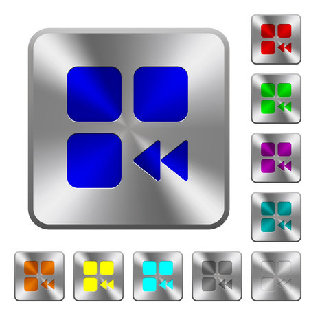 Component fast backward engraved icons on rounded square glossy steel buttons Illusztráció