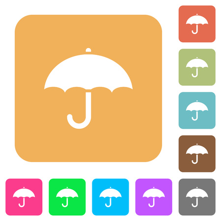 aegis: Umbrella flat icons on rounded square vivid color backgrounds.