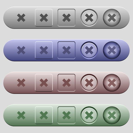 Cancel icons on rounded horizontal menu bars in different colors and button styles