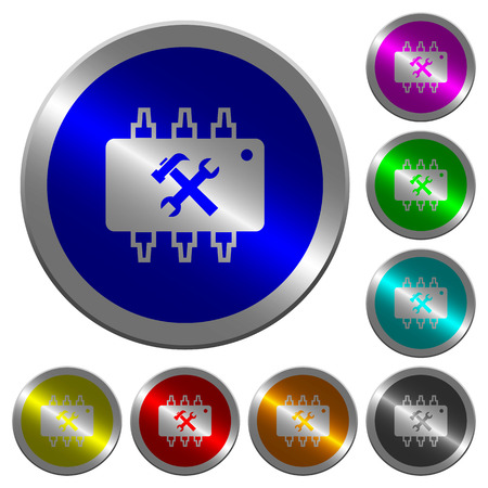 microprocessor: Hardware maintenance icons on round luminous coin-like color steel buttons
