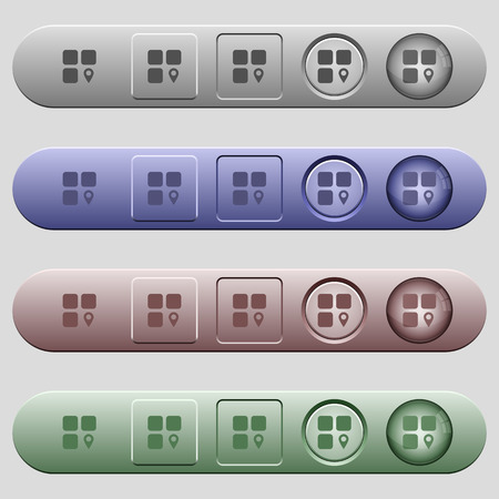 intercommunication: Component location icons on rounded horizontal menu bars in different colors and button styles