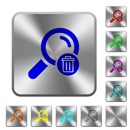 investigating: Delete search engraved icons on rounded square glossy steel buttons Illustration