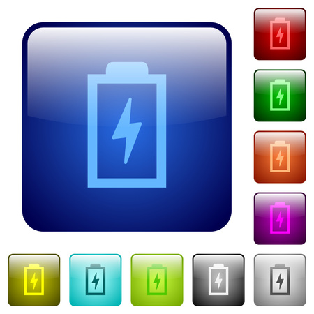 Battery with energy icons in rounded square color glossy button set Illustration