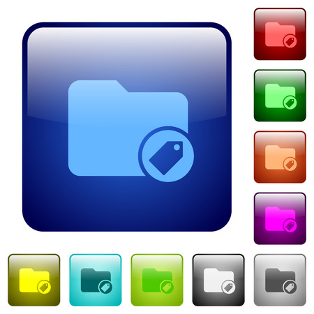 tagging: Tagging directory icons in rounded square color glossy button set Illustration