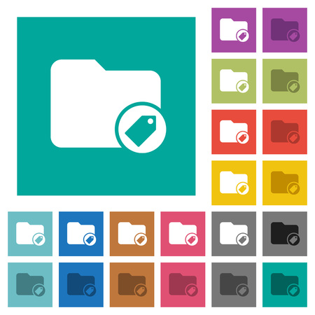 Tagging directory multi colored flat icons on plain square backgrounds. Included white and darker icon variations for hover or active effects.