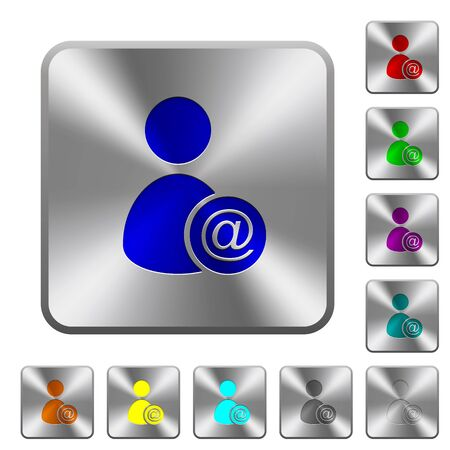 permissions: Send user data as email engraved icons on rounded square glossy steel buttons