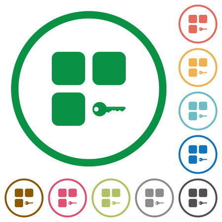 intercommunication: Secure component flat color icons in round outlines on white background