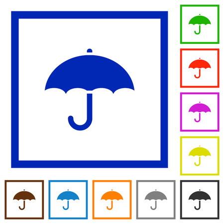 brolly: Umbrella flat color icons in square frames on white background