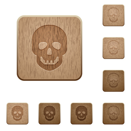 decease: Human skull on rounded square carved wooden button styles