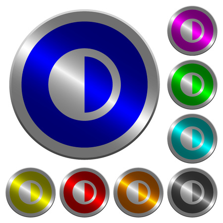 contradictory: Contrast control icons on round luminous coin-like color steel buttons Illustration