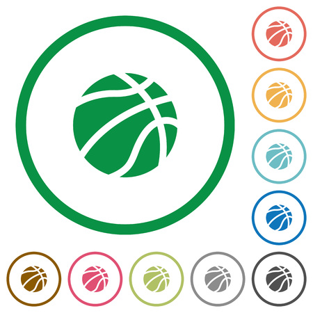 Basketball flat color icons in round outlines on white background